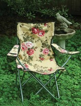 Victorian Floral Lawn Chair Fold-Up Seat Garden Sports Camping Outdoor 34'' - $59.40