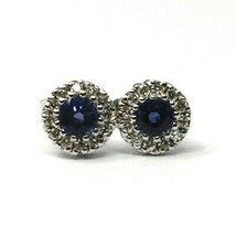 18K WHITE GOLD FLOWER EARRINGS ROUND SAPPHIRES 0.73 CT, DIAMONDS FRAME 0.23 CT image 1