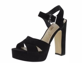 New Sam Edelman Arlene Suede Platform Black Heels Sandals Open Toe Size 6 - $95.79