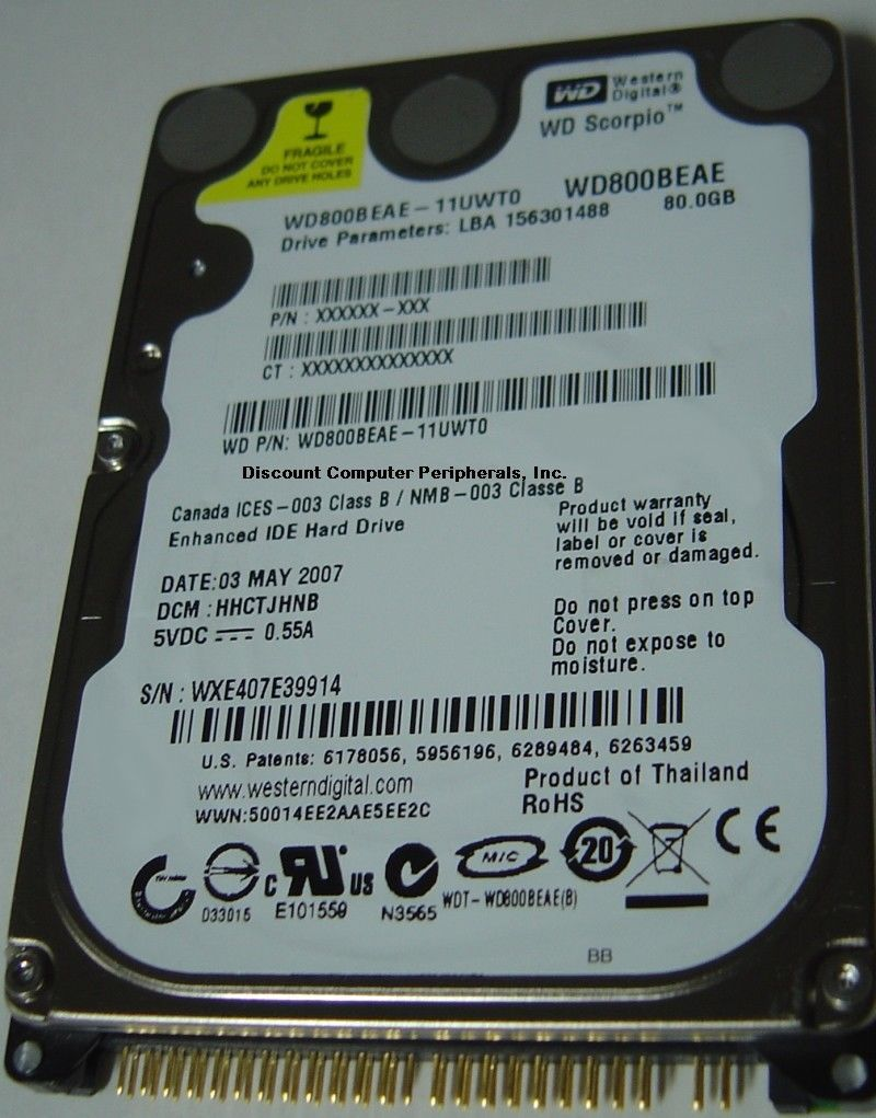 "Rare WD WD800BEAE 80GB IDE 2.5"" Hard Drive Tested Good Free USA Shipping"