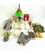 Christmas Angel Ornaments Figurines Craft Mixed Lot of 18 Cloth Porcelain - $29.69