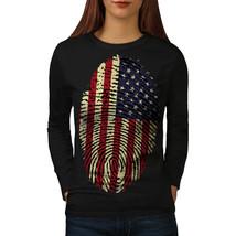 American Fingerprint Tee USA Flag Women Long Sleeve T-shirt - $14.99