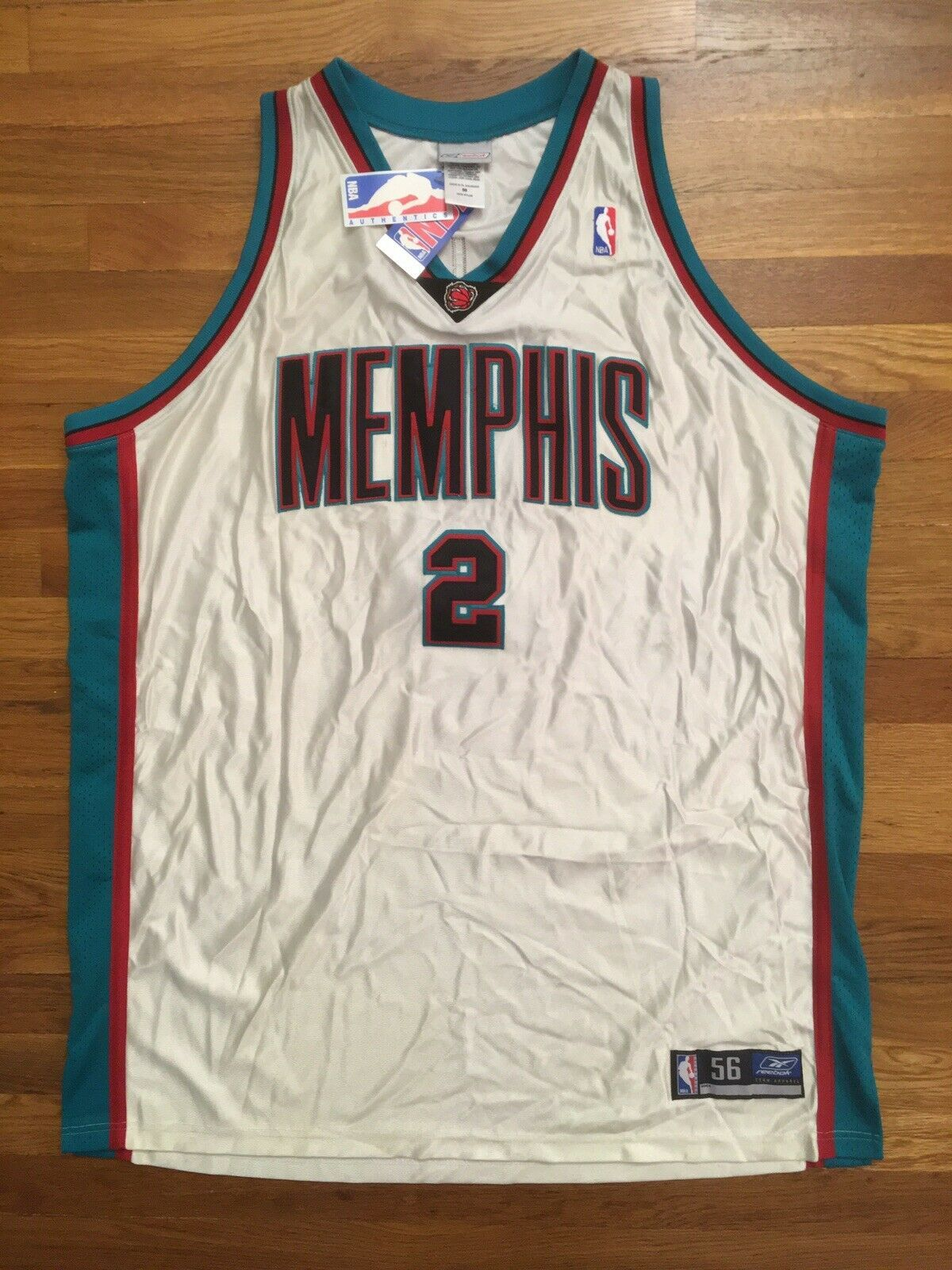 Primary image for BNWT Authentic 2002-03 Reebok Memphis Grizzlies Jason Williams White Jersey 56