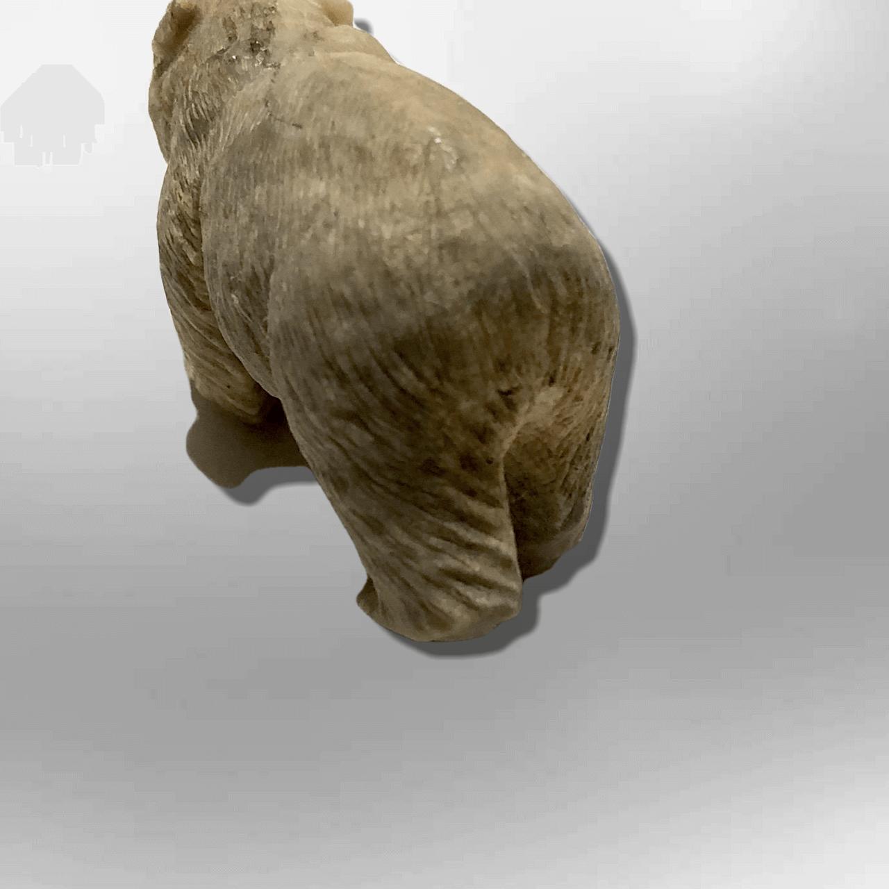 Handmade Bone Carved Full Standing Bear Body No Paint Detailed Table Fetish