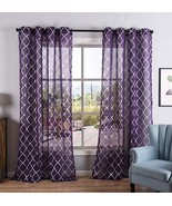 Kotile Silver Moroccan Tile Print Semi Sheer Curtains for Girls Room Déc... - $26.93
