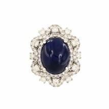 Oval Blue Sapphire Gemstone Diamond White Gold Ring - $14,550.00