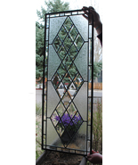 Stained Glass Window, Antique Beveled Restored with clear glue chipped g... - $197.00