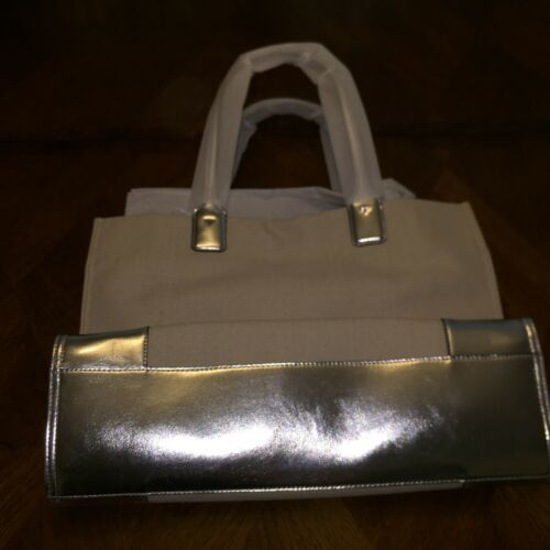 NWT Tory Burch ELLA METALLIC CANVAS TOTE Natural / Silver
