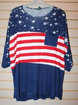 New Womens Plus Size 3X Red White & Blue 4TH July Americana Striped Shirt Top - $14.80
