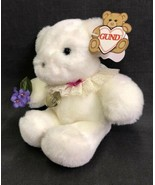 Gund Bear Plush Sweets 1525 White Purple Flowers Lace Collar Hangtag 1985 - $24.70
