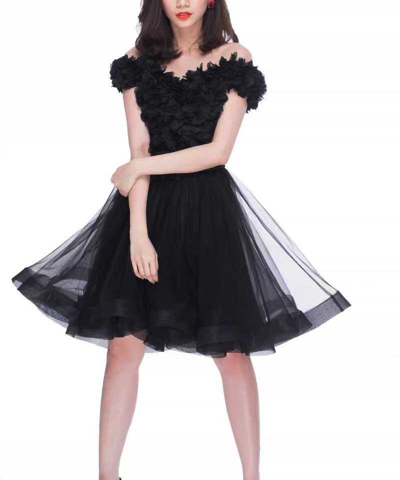 Black Ruffle Midi Tulle Skirt High Waisted Layered Ballerina Skirt Outfit T1878