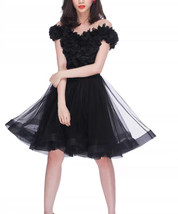 Black Ruffle Midi Tulle Skirt High Waisted Layered Ballerina Skirt Outfit T1878 image 1