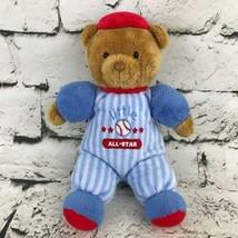 Carter's Little All-Star Teddy Bear Plush Baseball Uniform Rattle Stuffed Toy - $7.91