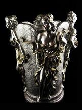 Vintage Goddess Vase - 4 seasons Urn - Horai silver bottle holder - Gree... - $145.00