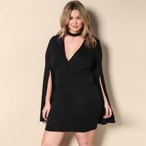 Plus Size Dress Sexy Cut Out V-Neck Choker Autumn XXXL Women  Split Long - $39.95