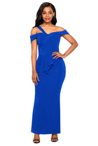 Royal Blue Asymmetric Off Shoulder Look High Waist Party Gown  - $23.55