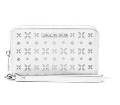 Michael Kors Jet Set Perforate Wallet WRISTLET Phone Case White NWT - $78.21