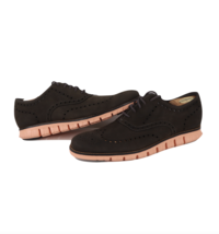 Cole Haan ZeroGrand Wingtips Leather Dress Shoes Dark Brown Peach Mens S... - $98.95