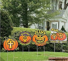 Halloween Jack o Lantern Church Yard Stakes Christian Sayings - £44.77 GBP