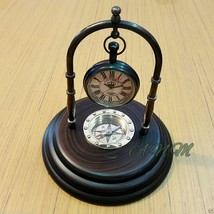 Antique Brass Desk Clock With Wooden Base Marine Compass Table top Decor... - $29.00