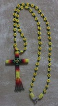 Native American Cut Glass Beaded CROSS Necklace Yellow Daisy Flowers Fir... - $49.99