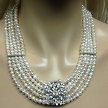 Elegant Reversible Cameo-Rhinestones Pendant 5 Strands Real Pearls 18in ... - $189.95