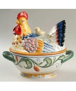 FITZ & FLOYD Ricamo Hen on a Nest Covered Vegetable Bowl - $119.00