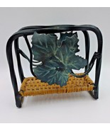 Wrought Iron Wicker Napkin Holder Leaves Black Tan Sturdy Fall Autumn Cl... - $9.49