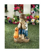 My Pup And I Solar Figurine Pondering Life's Mysteries Yard Decor - $23.40