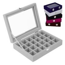 24 Slots Velvet Desk Jewelry Storage Box Rings Earrings Chain Tray Displ... - $18.79
