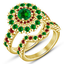 Green Sapphire Womens Double Halo Engagement Ring Set 14k Gold Finish 92... - $77.89