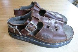 Dr Martens Air Wave Womens Brown Leather Sandals FLOWER STUD Cut Out  Si... - $39.99