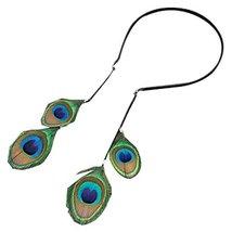 Retro Hair Hoop Peacock Feather Hairpin Earrings Bohemia Headdress - $14.00