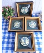 Framed Wall Art 4 Wood Frame Domed Glass Faux Wedgwood Medallions 1940s - $58.00