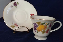 Lenox Special Gold Label Fine China Cup and Saucer fruit and flowers Gol... - $21.04