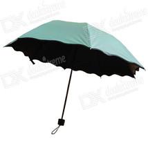 Folding Manual Sun / Rain Anti-UV Umbrella Parasol Show Flower - Green - $20.70