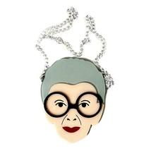 "Iris Apfel Necklace 3.5"" Lg Acrylic Pendant Pop Art Advanced Fashion Style Icon - $14.95"