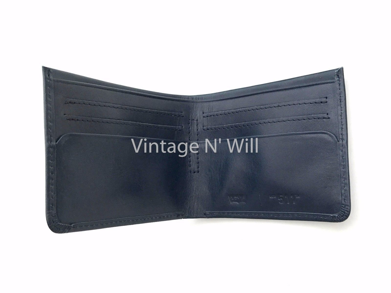 Levis Jeans Mens 511 Slim Navy Blue Genuine Leather Wallet Billfold Bifold Card image 4