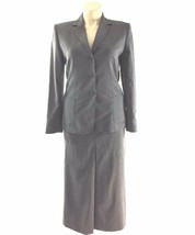 Talbots 12 Large Suit Blazer Skirt A Line Pleat Gray Wool Blend Modest O... - $18.95