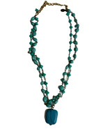 Vintage KAARI MENG NYC Double Strand Faux turquoise Beaded Chocker Necklace - $17.41