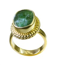 charming Indian Jasper Gold Plated Green Ring genuine Designer US gift - $9.99