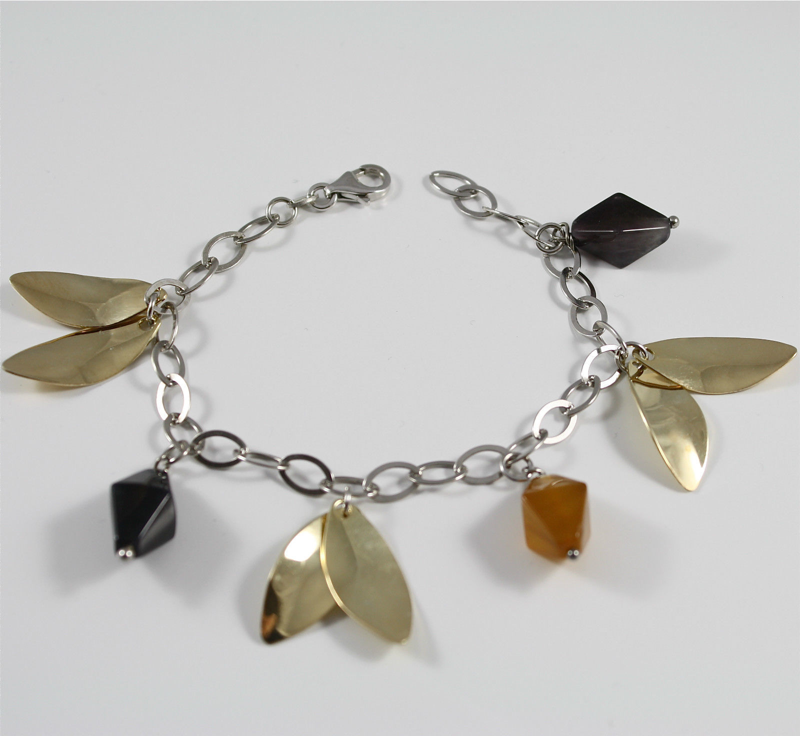 Bracelet in Sterling Silver 925 Rhodium with Jade Brown and Petals Gold Pendant