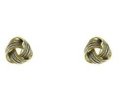 TT Silver Yellow Love Knot Wheat Textured Bali Omega Back Earrings 18mm ... - $21.77