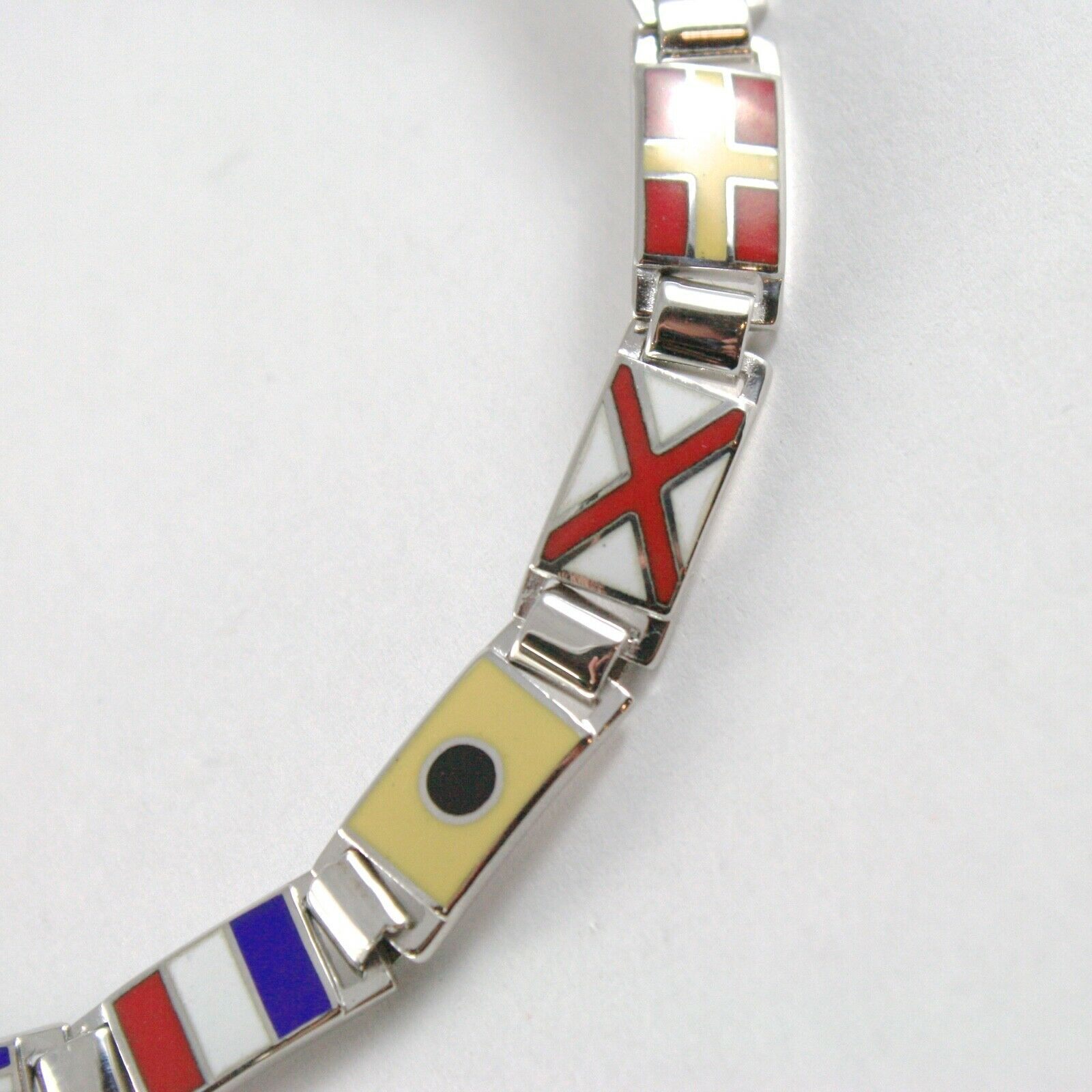 Armband Silber 925, Flags Seekarten Glasierte Fliesen, Lang 18 cm, Dicke 6 MM