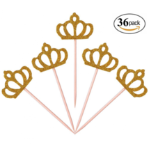 Aresmer 36 Pack Cupcake Toppers Gold Glitter Crown Princess Cake Decorat... - $27.99