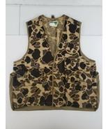 Vtg Game Winner Brown Camo Hunting Vest Size L w Game Bag Dove Pocket Bi... - $22.21