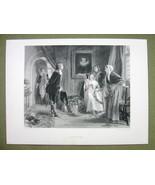 VICTORIAN ROMANCE Christmas Time Mistletoe Kiss - 120+ Years Old Print E... - $9.45