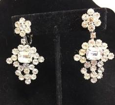 Vintage Weiss Rhinestone Drop Clip Earrings Silvertone Ornate Rare - $144.94