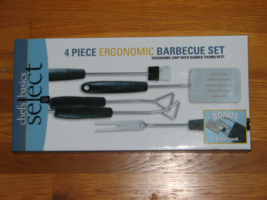 CHEFS BASICS SELECT 4 Piece Ergonomic Barbecue Set Cook-Out Grill Tools  - $19.95