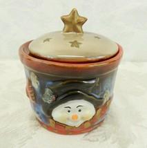 "Ceramic Christmas Sugar Bowl w-Lid - Snowman - 4"" Star Handle Trinkets C... - $17.81"